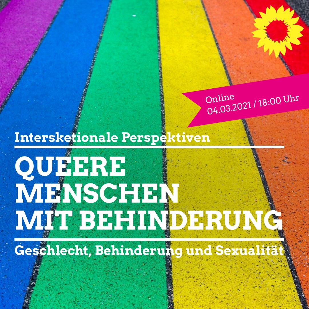 Das Titelbild zum Webinar Queere Menschen mit Behinderung zeigt senkrechte Streifen in den Farben des Regenbogens und das Logo der Grünen.