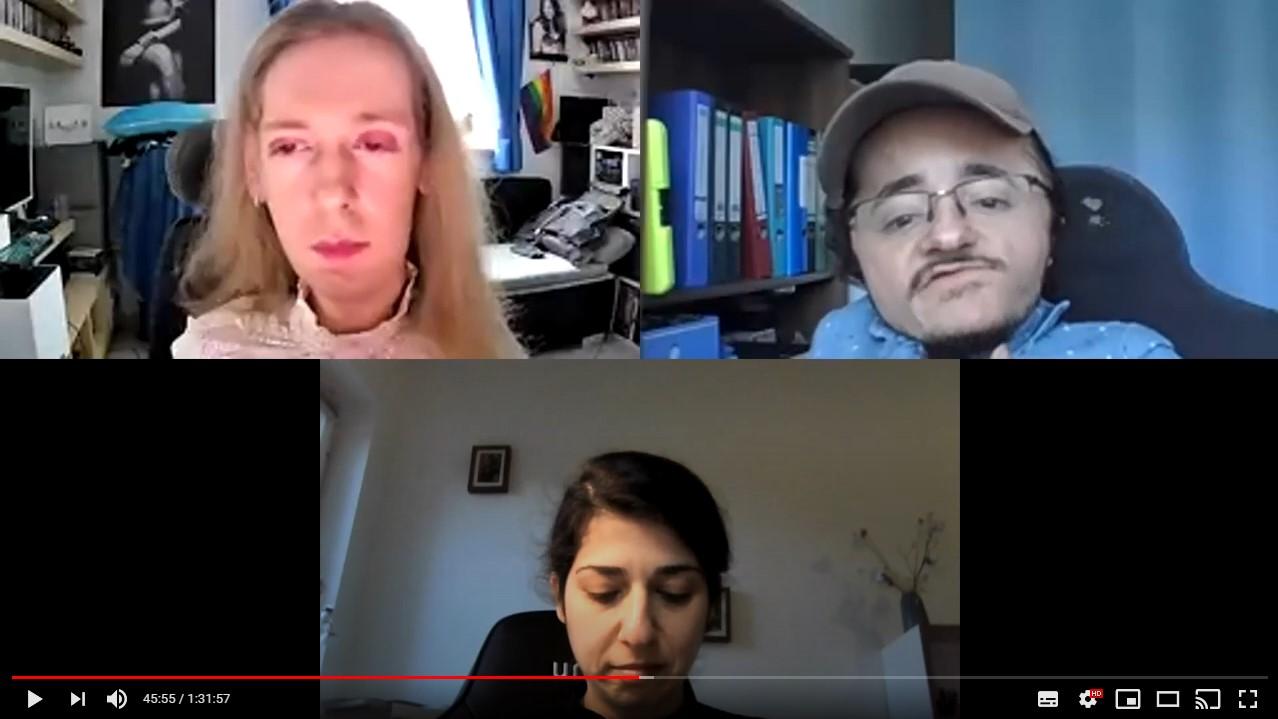 Ein Ausschnitt des Talks mit Ed Greve. Der Bildschirm ist in drei Bereiche unterteilt, links oben bin ich, rechts befindet sich Ed und mittig unter uns befindet sich Tuğba, die einen Teil moderierte.